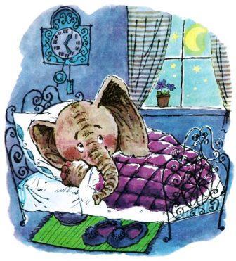 Слоненок в кроватке. Рисунок