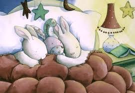 Зайки спят. Рисунок